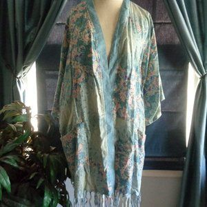 Miss Me Boho  Light Blue Duster Fringed New w/Tag